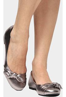 Sapatilha Couro Shoestock Laço Feminina - Feminino-Prata