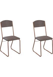 Conjunto Com 2 Cadeiras Byron Marrom E Cobre