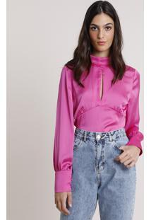 Blusa Feminina Mindset Acetinada Com Vazado Manga Longa Decote Redondo Pink