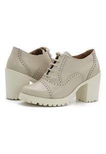 Ankle Boot Feminino Off White Tratorado Em Couro 19000