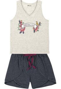 Pijama Feminino Em Malha De Algodão Com Shorts De Corte Diferenciado