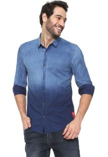 4d169eebd323a2 Camisa Jeans Calvin Klein Jeans Slim Degradê Azul