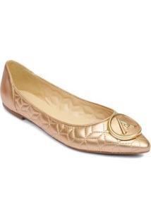 Sapatilha Bico Fino Feminina Couro Metal Casual Conforto - Feminino-Rose Gold