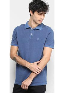 Camisa Polo Derek Ho Tinturada Piquet Básica Masculina - Masculino-Marinho