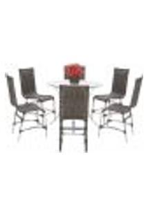 Jogo Cadeiras 6Un E Mesa Alta Sevilha Para Edicula Jardim Area Varanda Cozinha - Pedra Ferro