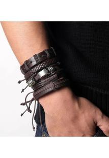 Bracelete 5 Em 1 Pulseira Artestore Em Couro Marrom Café Com Metais - Tricae