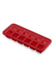 Forma De Gelo De Silicone 12 Cubos Vermelha - Ud146 Vermelho
