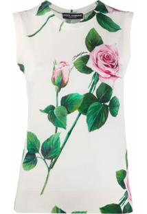 Dolce & Gabbana Regata Nude Com Estampa De Rosas - Neutro