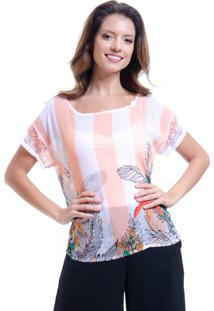 Blusa 101 Resort Wear Tunica Ampla Crepe Renda Estampada Listrada