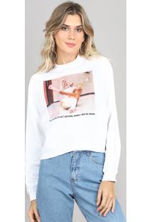 Blusão Feminino Gatinho Em Moletom Off White