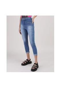 Calça Jeans Sawary Cropped Barra Dobrada Azul Médio
