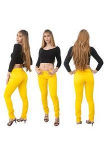 Calça Jeans Feminina Beloved Skinny 1008 Amarela