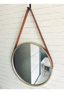 Espelho Decorativo Redondo Moldura Dourada
