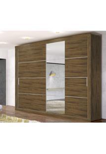 Guarda Roupa Casal Com 4 Espelhos E 2 Portas De Correr Essencial Zanzini Nogal