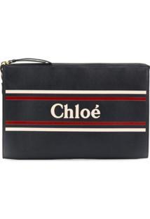 Chloé Clutch Com Estampa De Logo - Azul