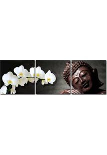 Quadro Oppen House 50X150Cm Buda Madeira Orquídea Branca Decorativo Sala