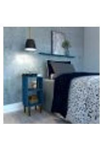 Mesa De Cabeceira Com Prateleira Jorah Azul