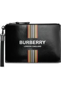 Burberry Carteira Com Estampa De Logo De Listras Icônicas - Preto