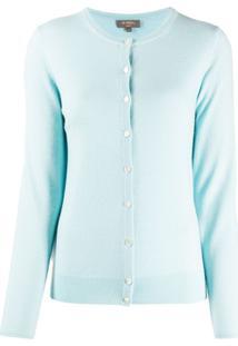 N.Peal Cardigan Decote Careca De Cashmere - Azul