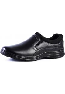 Sapato Couro Doctor Shoes Comfort 9729 Elástico Preto