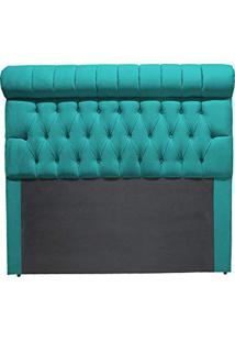 Cabeceira Michele Casal 140 Cm Decor Magazine Suede Azul Tiffany