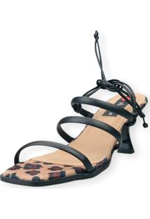 Sandalia Salto Taça Love Shoes 3 Tiras Amarração Onça Preto