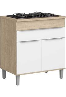 Armário De Cozinha 2 Portas Cooktop Com Pés Cs601P Acácia/Branco - Decibal Móveis