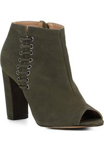 Ankle Boot Shoestock Open Boot Nobuck Feminina - Feminino-Verde