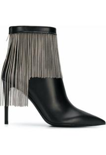 Balmain Ankle Boot Com Franjas - Preto
