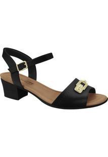 Sandália Texturizada- Preta & Dourada- Salto: 4Cmcomfortflex