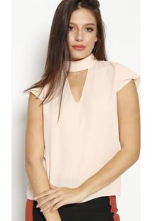 Blusa Com Recorte Vazado & Botões - Rosa Claromoiselle