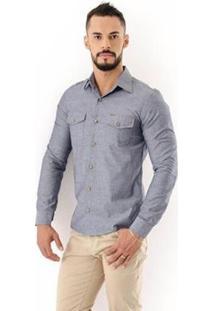 Camisa Amil Safari Slim Manga Longa I Masculina - Masculino-Cinza