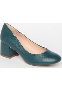 Sapato Tradicional Em Couro Texturizado- Verde Escuro