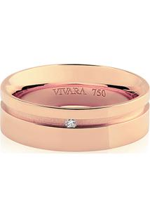 Aliança De Casamento Ouro Rosé E Diamante (6Mm)