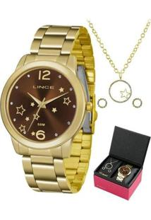 Kit Relógio Lince Dourado Feminino - Feminino-Dourado
