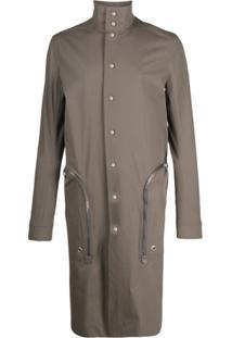 Rick Owens Trench Coat Com Zíper - Cinza