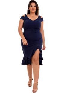 Vestido Midi Em Malha De Crepe Decote V Plus Size Azul Marinho