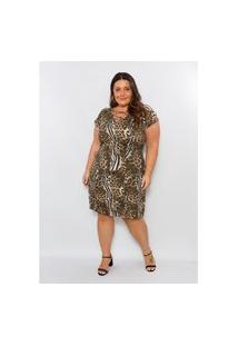 Vestido Plus Size Feminino Robe Belle Animal Print