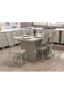 Conjunto De Mesa Com 6 Cadeiras Diego Cromado E Marrom