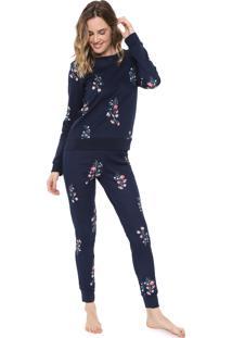 Pijama Malwee Liberta Floral Azul-Marinho