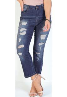 Calça Jeans Reta Destroyed E Bolsos Funcionais