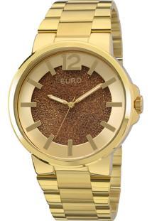 Relógio Euro Feminino Couro Metálico Eu2036Lyk/4M - Dourado