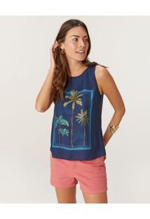 Blusa Tropical Em Cetim Malwee Azul Marinho - P