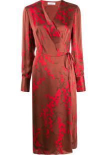 Equipment Vestido Envelope De Cetim Com Estampa Floral - Vermelho