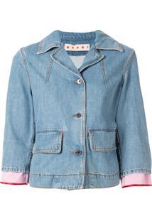 Marni Cropped Buttoned Denim Jacket - Azul
