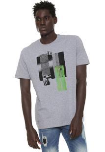 Camiseta Volcom Pixel Fade Cinza