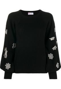 Redvalentino Suéter Decote Careca Com Aplicação Floral - Preto