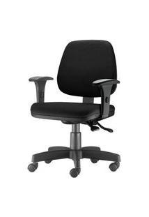 Cadeira Job Com Bracos Assento Crepe Base Rodizio Metalico Preto - 54556 Preto