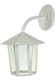 Arandela Colonial Sextavada Vidro Liso 1Xe27 Branco Brilhante - 109400-04 - Blumenau - Blumenau