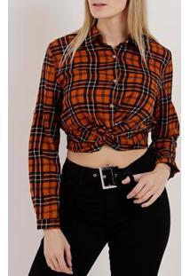 Camisa Cropped Xadrez Manga Longa Feminina Caramelo
